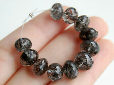 AAA Natural Black Rutilated Quartz Faceted Rondelle Gemstone Beads 8-9mm