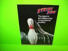 Williams STRIKE ZONE Original 1984 NOS Shuffle Alley Bowling Arcade Game Flyer