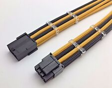 4 + 4 Pin ATX CPU Black Gold Sleeved Extension Cable 30cm Shakmods 2 Cable Combs