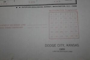 DODGE CITY KANSAS Topo map provisional 1955. NON Dowsed, No marks, NICE TO FRAME