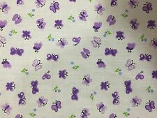 "Purple Butterfly Poly Cotton Print Fabric - Sold By The Yard - 58"" / 59"""