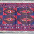 Handmade New Afghan Bahor Tribal & Geometric Red Accent Rug, 4x6,100% Camel Hair