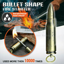 Waterproof Fire Starter Lighter Match Keychain Metal Bullet Survival Camping