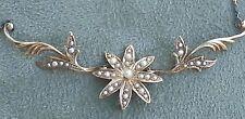 Antique Victorian Art Nouveau 14k Gold Seed Pearl Floral  Necklace / Pendant