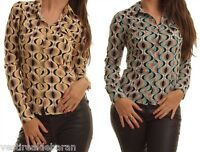 Camicia Donna Camicetta Shirt Maniche Lunghe ZONA BRERA A896 Tg S M