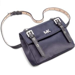 MICHAEL KORS Fancy Grommet Nylon Belt Bag Navy Silver-tone One Size $88 - NWT