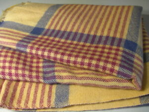 Vintage Kyloom All Virgin Wool Woven Throw Blanket 68x53 Fringed Gold Red Blue