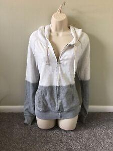 Victoria's Secret Pink White Gray Color Block Zip Up Hoodie Sweatshirt (S)