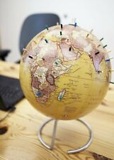 """Magnetic World Globe 10"""" Antique Tan Magnetic Standing Globe with Magnetic Pins"""