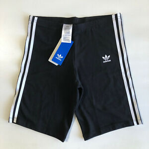 Adidas Girls Black/White 3STR Trefoil Cotton Cycling Shorts Tights Sz XL (M)
