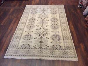 Gray  Genuine Hand Knotted Oushak Geometric Area Rug Runner Carpet 6'x9'1,#22