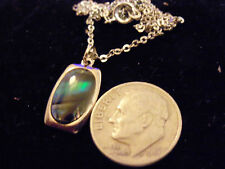 bling sterling silver abalone paua shell rectangle charm chain necklace hip hop