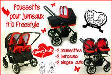 Poussette pour jumeaux FREESTYLE trio Poussettes+Berceaux+sieges auto noir+rouge