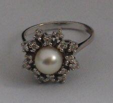 Weißgold Ring Natur Perle  Diamant Zerifikat 2000,- Euro  585 Gold