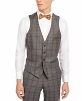 Bar III Mens Suit Vest Gray Size XL Slim Fit Plaid Printed Wool $125 #053