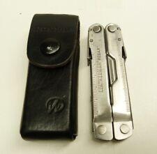 LEATHERMAN FOLDING MULTI TOOL POCKET KNIFE: REBAR & LEATHER CASE -B26#9