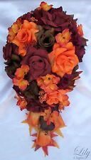 17 pcs Package Wedding Bridal Bouquet Silk Flowers Fall Orange Cascade Teardrop