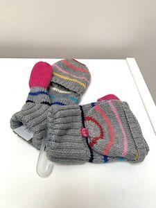 New Gap girls stripe multi colour Mittens gloves small