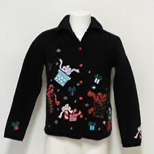 Karen Scott Sports Womens Sm Black Embroidered Christmas Sweater Jacket Wool