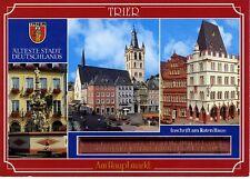 Postkarte Trier Fotokunst Schwalbe: M22 Petrusbrunnen, St. Gangolf, Rotes Haus