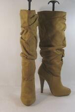"Michael Antonio Tan 5"" High Heel Round Toe Sexy Knee Boots Size 5.5"