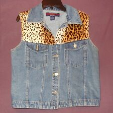 Leopard Print Jean Denim Vest Sleeveless Size Small Chandara Sport Blue Faux Fur