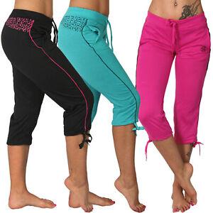 3/4 Niedrige Leichte Jogging Capri Hose Sport Streifen Fitness Taschen Yoga 3775