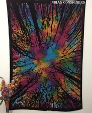 The Forest Trees Twin Bedspread Tapestry Abstract Wall Hanging Multi Color Sheet