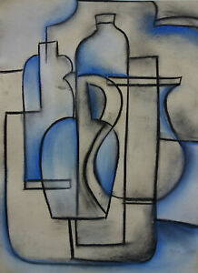 Unique old French Cubist still life painting, pastels and gouache, unsigned