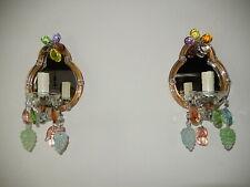 ~c 1930 Italian Multi Colored Crystal Prisms Murano Fruit Mirror Sconces~