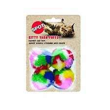"""SPOT ETHICAL PET 1.5"""" PUFF BALLS 4 PACK CAT TOY YARN MULTICOLOR. FREE SHIP USA"""
