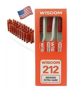 3X Wisdom 212 Smokers Extra Hard Brown Bristle Tooth Brush.USA Seller( 3pieces)
