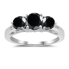 3.27 ct Black Missanite Round & Natural Rough Diamond.925 Silver Ring