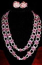VINTAGE VENDOME DOUBLE STRAND PINK CRYSTALS WHITE FAUX PEARLS NECKLACE/EARRINGS