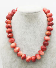 """pink red jade roundel faceted 16*12mm necklace 17"""" nature beads wholesale"""
