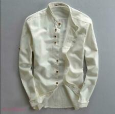 Mens Cotton Linen Stand Collar Long Sleeve Tee Top Casual hot Chinese Style New