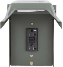 GE 20 Amp Backyard Outlet w/ GFI Receptacle Outdoor Lockable Zinc Coated Steel