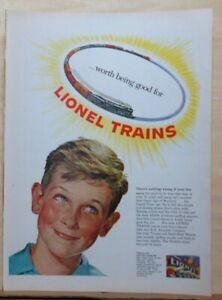 1952 magazine ad for Lionel Trains - Worth Being Good For!  Boy w/ RR track halo
