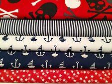 Fat Quarters Bundles Children Boats Stars Jolly Roger Fabric BESIDE THE SEASIDE
