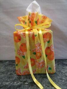 Oranges & Lemons on yellow cotton fabric Handmade square Tissue Box Cover