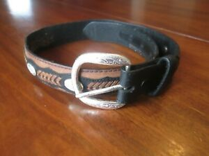 NOCONA Brown & Black Leather Western Belt Kids Size 22