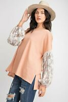 Easel Bohemian Floral Print Long Sleeve Knit Top