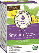 Organic Smooth Move Senna Peppermint, Traditional Medicinals, 16 tea bag 6 Boxes