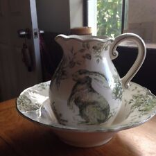 Maxcera Green & White Toile Country French Water Pitcher Rabbit Easter New!