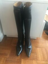 Authentic Gucci Leather Black Knee High Tall Boots Zip Inside Size 38