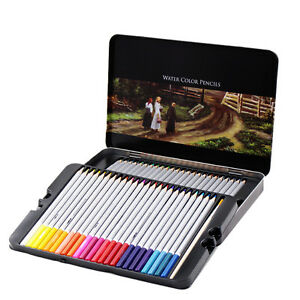 48 Water Color Soluble Watercolor Sketching Colored Art Drawing Pencils Tin Box