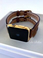 24k Gold Plated 42mm Apple Watch Series 2 With Leather Etoupe Double Buckle Cuff