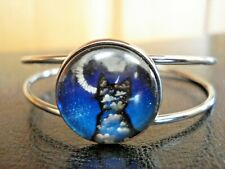 Glass Cabochon Split Band Cuff Bracelet Beautiful Gun Metal Tone Cat Themed