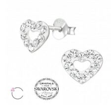 La Crystale Ohrstecker mit Crystal from Swarovski Echt 925 Silber Herz Valentin