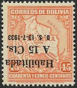 STAMPS-BOLIVIA. 1933. 15c on 45c. Variety Overprint Inverted. Type II SG: 275a.